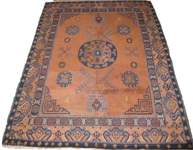 old Khotan rug 6ft x 4ft repiled, few wear areas.