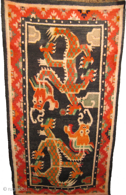 Old Tibetan double dragon rug 3.1 x 5.10ft in mint condition