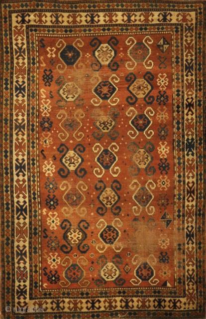 """Antique Caucasian Kazak Rug Mid 19th Century 4'10"""" x 7'10"""""""