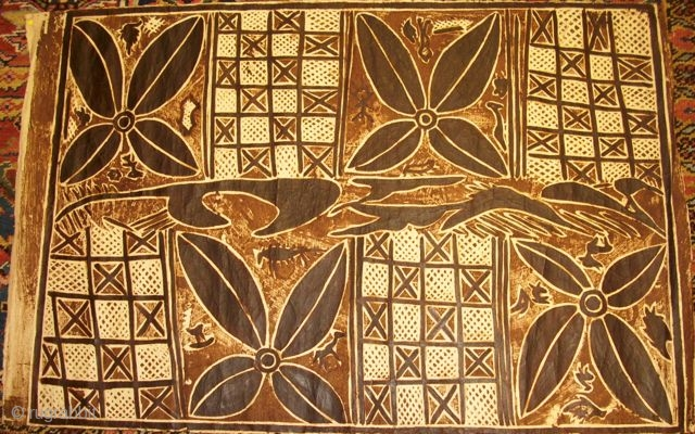 Tappas, New Guinea, bark-textile, middle of 20th century, 75 x 114 cm