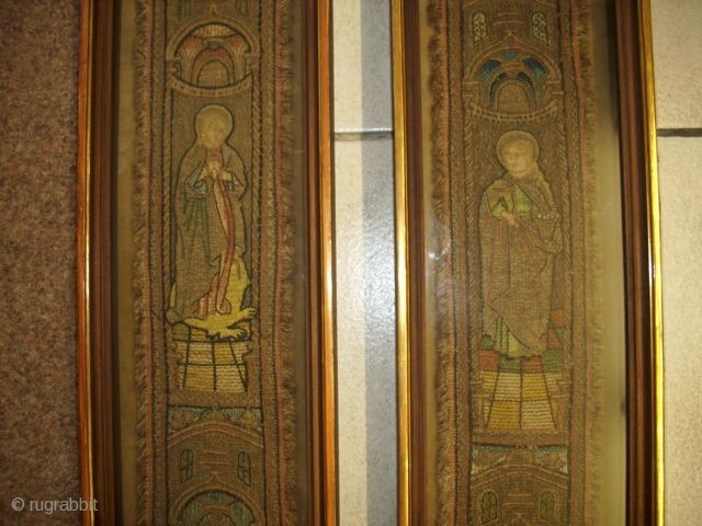 Two liturgical Textiles, embroidered, german, 10 x 98 each