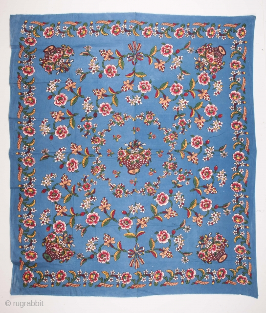 Anatolian Block Printed Cotton Blanket Top Early 20th C. 180 x 210 cm / 5'10'' x 6'10''