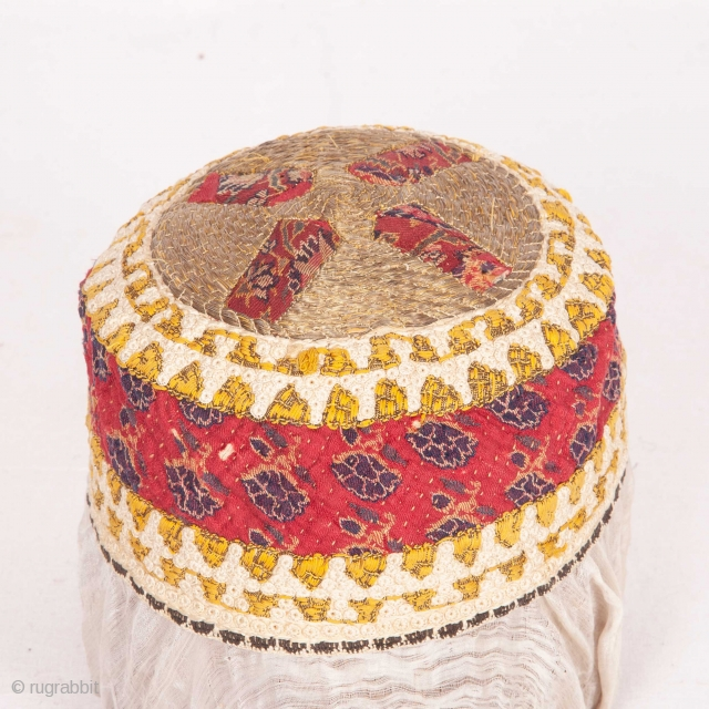 Late 19th C Hat Made from a Kashmir Shawl Fragment and embellished with button hole embroidery and metallic thread embroidery