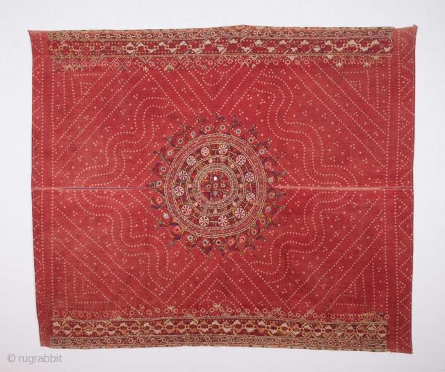 Tie Dye and embroidered Wedding Shawl , Sind 142 x 170 cm / 4'7'' x 5'6''