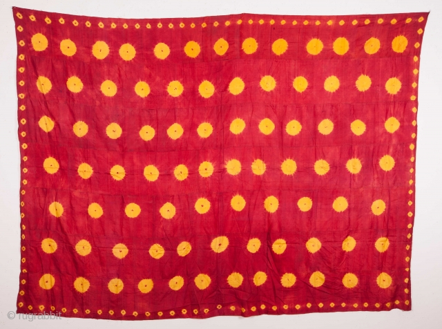 Central Asian, Uzbek tie-dye silk hanging 182 x 244 cm / 5'11'' x 8'0''
