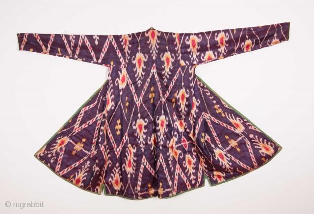 Central Asian Tajik Silk Satin Ikat Chapan