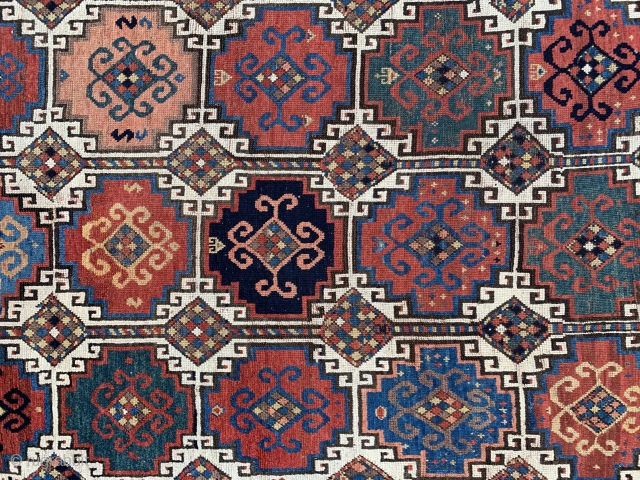 Mid 19th century Caucasian Memling  kazak with fantastic colors , some condition issues , size 224x136cm