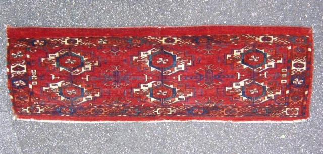 Antique turkoman Tekke torba with fantastic colors and silk highlights, size: 110x034cm