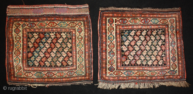 rare pair of Veramin Bagfaces with natural colors, 19th century, each 48x45cm