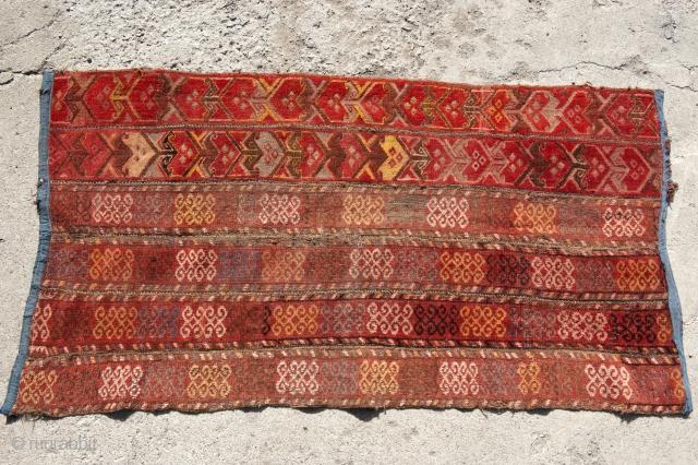 carpet made of yurt tape fragments,  Kazakhstan,  150 X 75 cm.