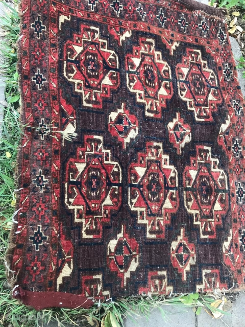 Turkmen chuval, Yomud or choodor, piece missing, 50 X 40 cm. SOLD