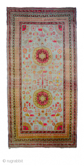 Early 20th century Khotan carpet 344x172 in very good condition.