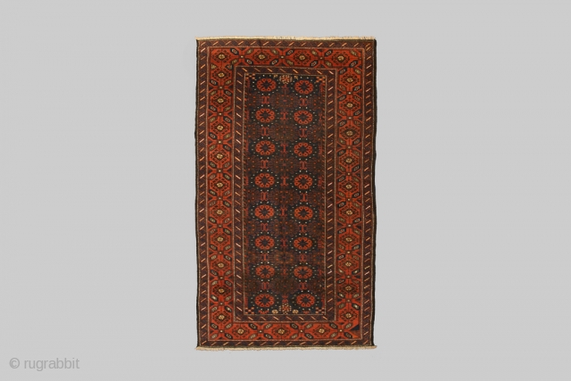 Fabulous Antique Baluch Rug 198x118cm, Circa 1910, with very warm rich colours. There is a small area of reweaving otherwise good even pile through out which is very impressive for Baluch of  ...