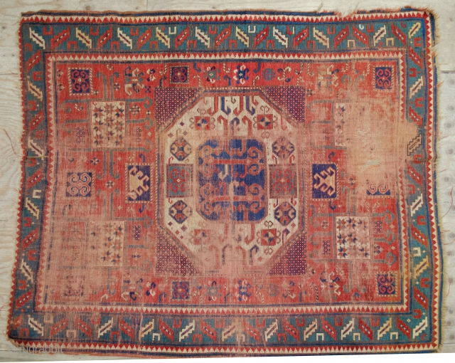 Antique Karachov 181x155cm, 19th Century. Beautiful colours but it is a bit of a project. Hence the excellent price.