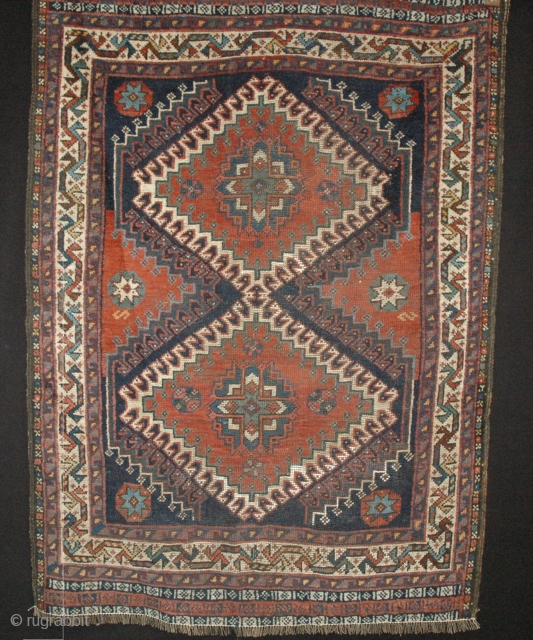 MS25 Lori Baft 142x105cm. Circa 1900, A very pretty piece with vibrant colours and high quality lustrous wool. Some repiling and a small guard border missing from both ends. All over low.