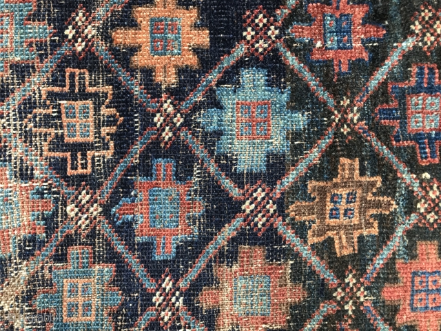 An early so called Arab Baluch with snowflaky motifs with breath taking iridescent blue