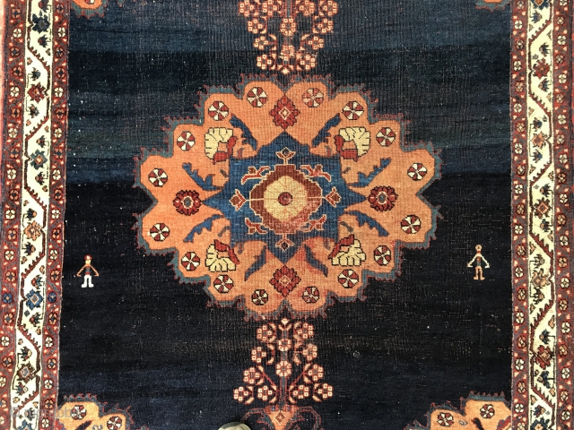 Beautiful Blue Ground Afshar with two figures and soft wool.