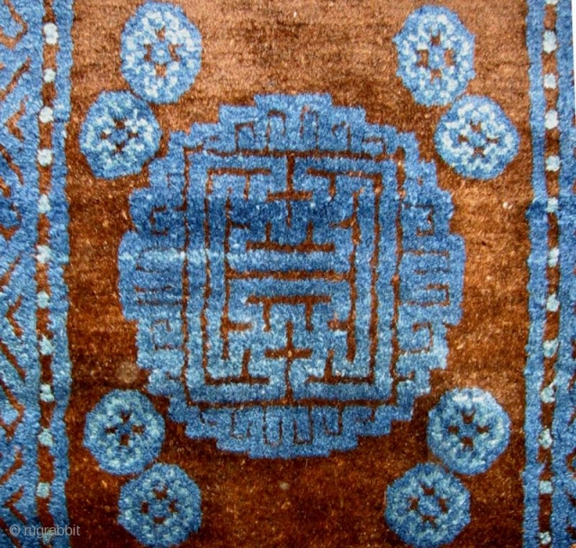 An Unusual Mongolian Small Carpet in Pristine Condition & some red wefts, for those who like red wefts....
