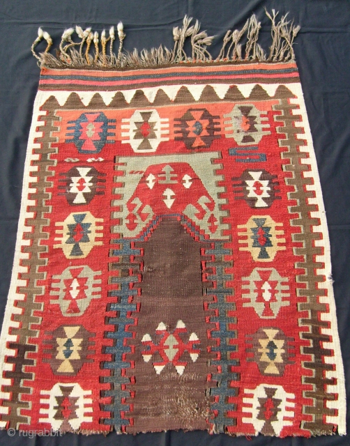 ANTIQUE ANATOLIAN KILIM FRAGMENT, GOOD COLOURS AND LOVELY EARLY DESIGN