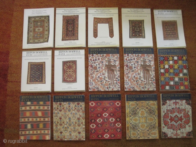 Books : Selection of 15 Rippon Boswell rug auction catalogues (10/15 Euro each) …