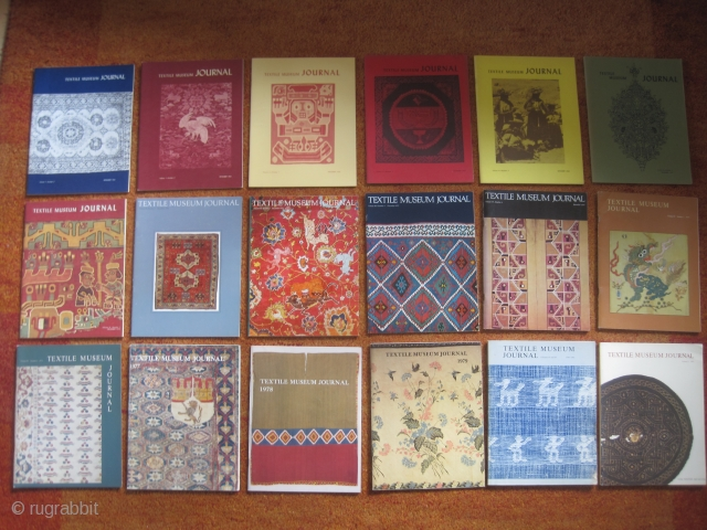 Books: 18 original issues of Textile Museum Journal: 1963+1964+1966+1967+1968+1969+1970+1971+1972+1973+1974+1975+1976+1977+1978+1979+1980/81+1982