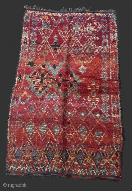Rare jewish rug of Morocco dated in the back 1 4 1966 in perfect condition..Wool..280 x 180 cm
