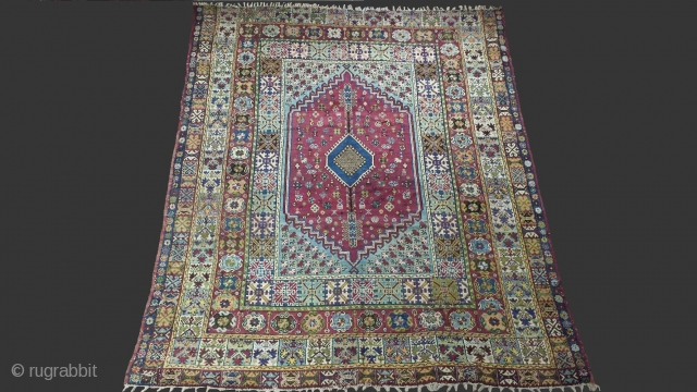 Fine antique moroccan rug of Rabat..Origin: Rabat, Morocco..Size: 370 x 300 cm(12'x 9'8)..Early 20th century.