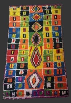 "Vintage colorful and amazing Moroccan rug Boujaad..Origin: Boujaad area..Age: Years 70..Size:9'2"" × 5'6"" (280 × 170 cm)   Samir Souiyat Vintage Moroccan Berber Rugs"