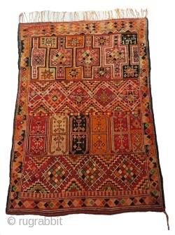 Rare fine berber rug Beni Sadden dated 1971..Origin:Middle-Atlas / Morocco..wool..Size: 8'5 × 5'4 (260 × 165 cm).   Souiyat Vintage Moroccan Berber Rugs