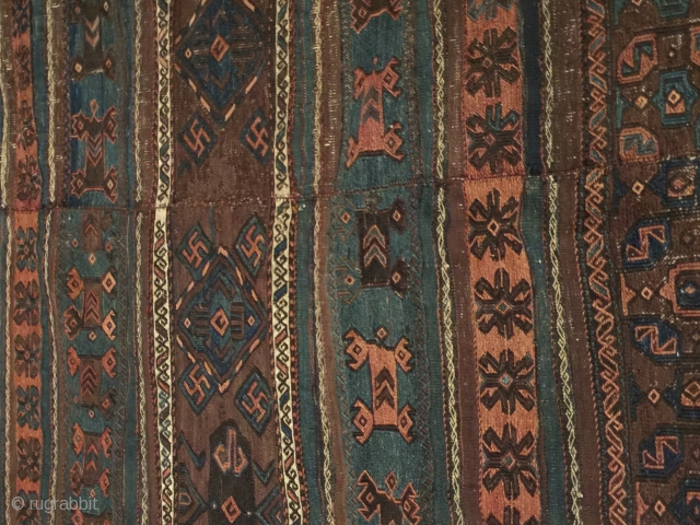 Adding some pictures of that amazing baluch Beluch Kilim jused as sofreh Or ensi  northeast Persia timuri bahurli  circa 1866-1877 natural dyes sumac technique flatwoven brocade Orginal sides and ends  ...