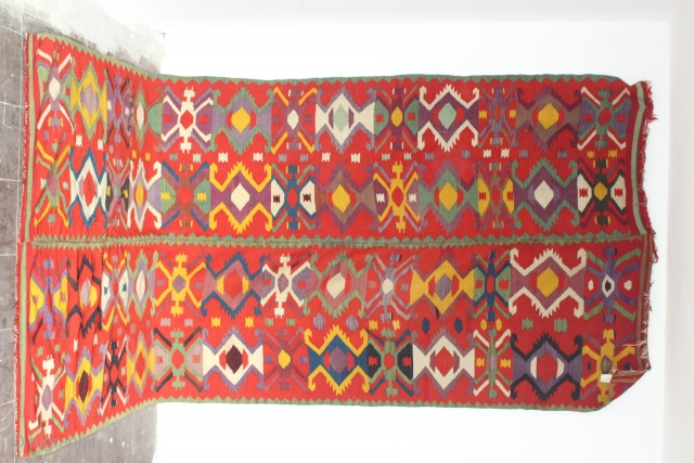 Rare mid 19th c Central Ukraine kilim circa 370 cm x 160