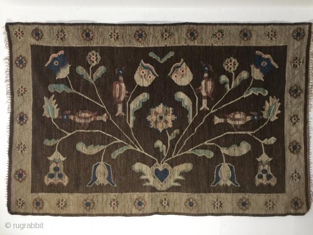 Antique art nouveau Krakow Polish Arras Wallhanging Kilim unique piece  with papercut design materials wool on lienen size 242 cm x 159 cm. That design can be found in north Pensilvanya  ...