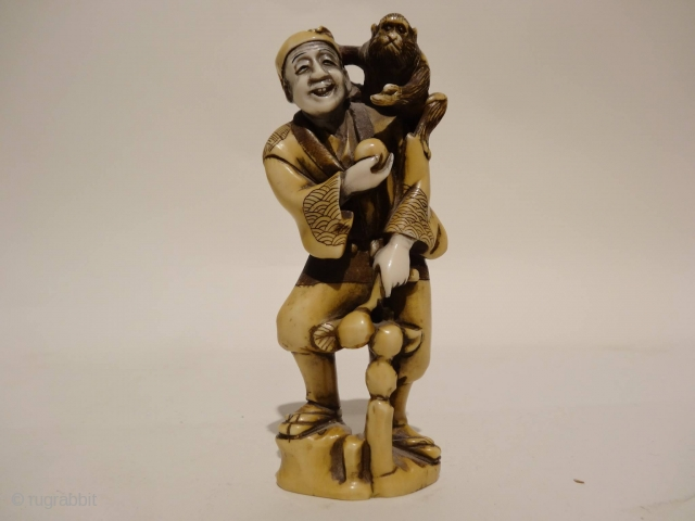 meiji period signed Japanese ivory okimono H:14cm