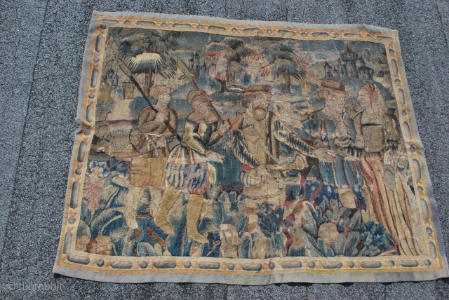 Medieval european franco flemish tapestry fragment early to mid. 16th century