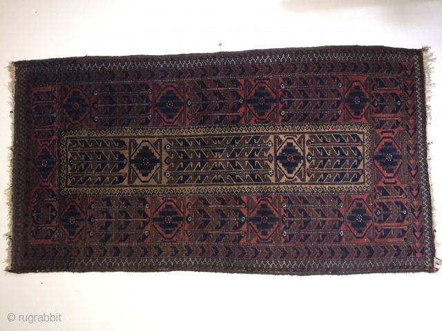 Antique Baluch rug with camelhair field arround 1900 some silk highlights size 156 cm x 85 cm