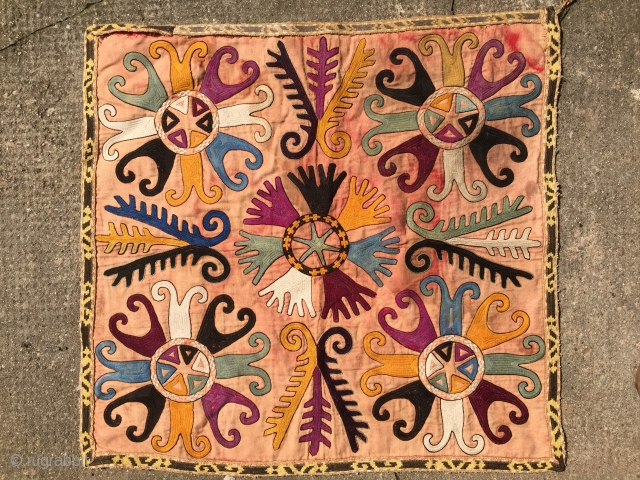 Antique Uzbek, Central Asian Silk embroidery from the Lakai tribe