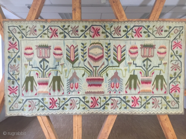 Existing decorative & Rare 19th century (1870-1890 ) Poland,Lithuania Belarus  ~ East Europe tapestry Kilim  Ref.: polish-Lithuanian commonwealth weaving  size 340 cm x 160 cm