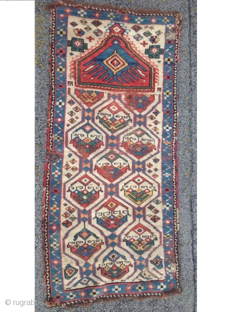 Eagle Prayer Rug white ground Field Fragment ca.1850 white ground