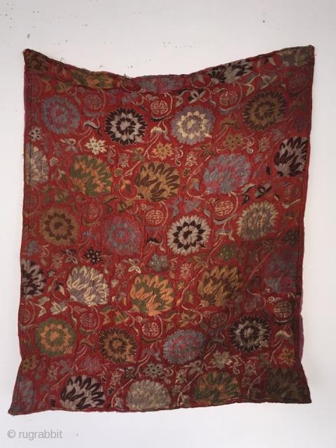 Kangxi coral-ground satin silk,metal wrapped brocade   size 80 cm x 80 cm  soulmatetextile@gmail.com
