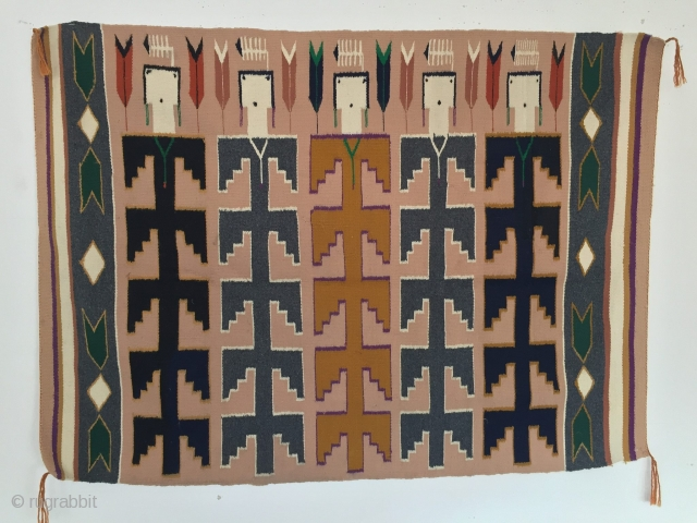 20th century 1970s Navajo Yei Rug Blanklet size 116 cm x 87 cm  soulmatetextile@gmail.com