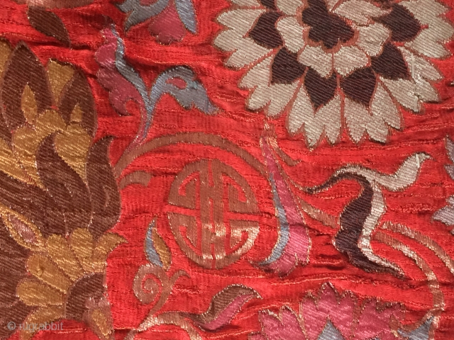 1662-1722 Kangxi period  brocade silk gold size 62 cm x 74 cm please contact via soulmatetextile@gmail.com