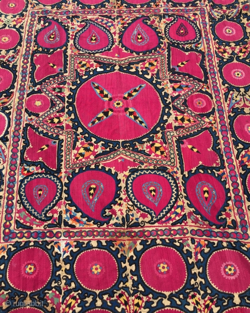 19th century Silk ; Samarkand suzani heavenly colours and design large blossoms a central star some birds and bothes  260 cm x 190 cm