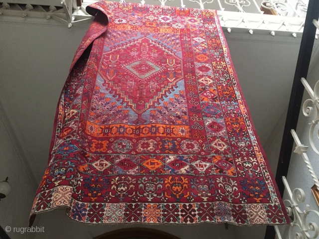 Antique Moroccan Rabat carpet mostly natural dyes multiple borders, great condition  highly decorative rug size 198 cm x 310 cm A view designs are related to Transylvanian and central Anatolian village rugs  ...