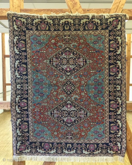 Unique Antique Indian Agra circa 1850 -1870 small size rug fringes are new ,colors are all natural please ask for more information pictures etc