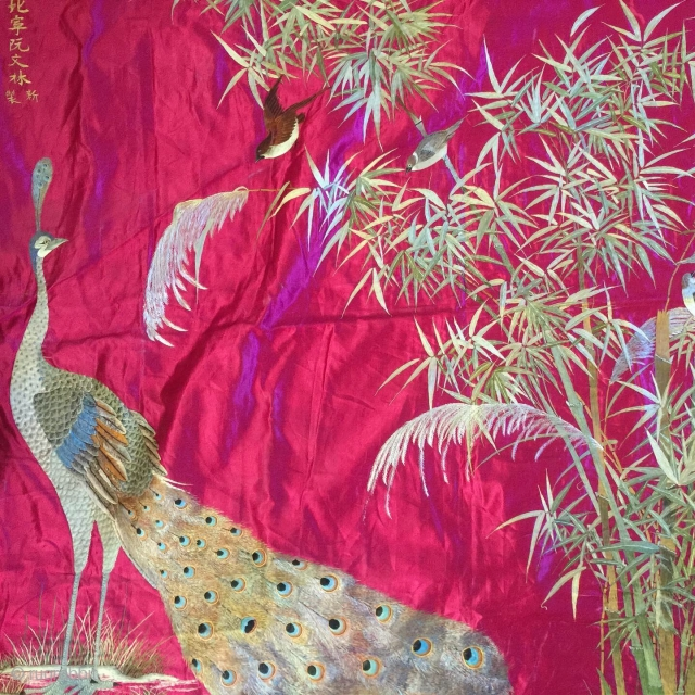 Antique Silk embroidery Union Indochinoise 19th Century