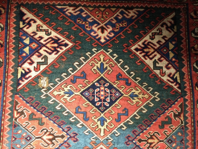 shuvaler Armenien? kazak with eccentric gothic border and pinwheel secondary border  Size: 160 cm x 238 cm handle like a velvet  Condition some old restoration