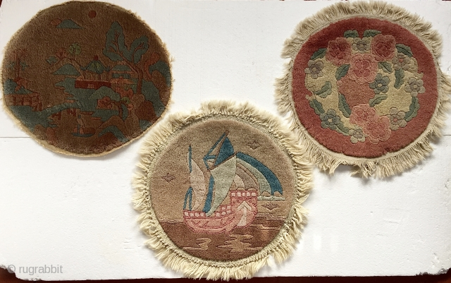 """Trio of Tientsin/Fette' Chinese Circles in excellent condition.  1' 4"""", 1' 3"""" and 1' 4"""" - 1' 6"""".   The wreath of roses mat has a tiny spot missing pile at  ..."""