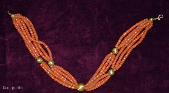 """3 Antique Turkmen/ Tajik Coral Necklaces with 14 carat Turkish hand made gold beads. Sizes from 16' to 20"""". Beads are  from Central Asian tribal jewelry."""