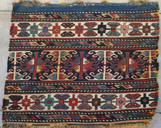 Unbelievable COLORS! Shahsavan mafrash end panel, circa 3rd Qtr. 19th c.. Exceptionally tight weave, with half of the panel having silk wefts, and the other half very fine cotton. Very precisely drawn.  ...
