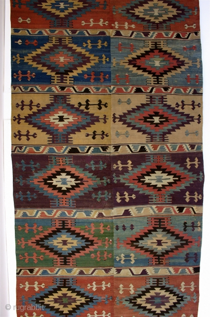 "Karapinar? KELIM, Central Anatolia, 18th century  Size: 14\' x 5\'4"" (both halves together) Condition / Description: This is an important early Turkish kelim from one of the most sought after regions  ..."